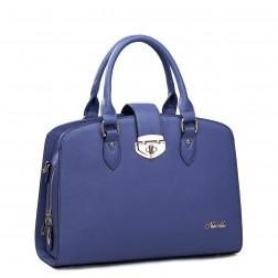 Fashionable leather handbag blue