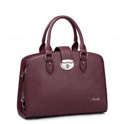 Women's leather handbag purple