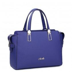 Romantic Contrast color real leather handbag Blue
