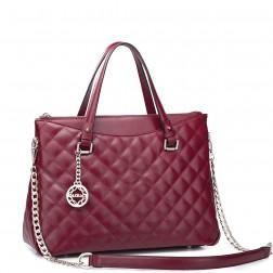 Genuine leather handbag pink