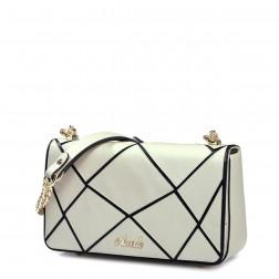 Women leather contrast color chain bag Silver