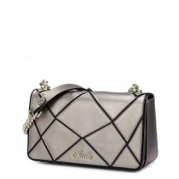 Women leather contrast color shoulder bag Silver