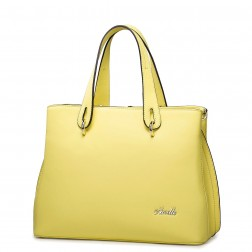 Flower high-grade natural leather messenger bag yellow