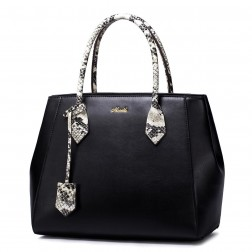 NUCELLE cowhide leather shoulder bag Black