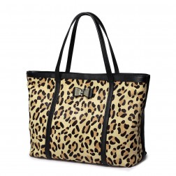 Leopard cowhide leather messenger bag Coffee