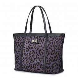 Leopard cowhide leather messenger bag Rose