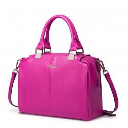 Leather hanbag Sara purple