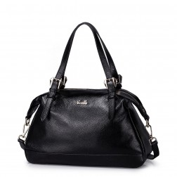 Fashion NUCELLE big size genuine leather women bag black