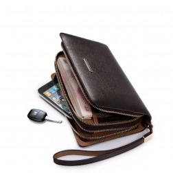 SAMMONS Men's wallet genuine leather brown