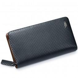 Men cowhide leather clutch Black