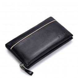 SAMMONS cowhide leather clutch Black