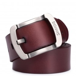 Leather men belt light coffee