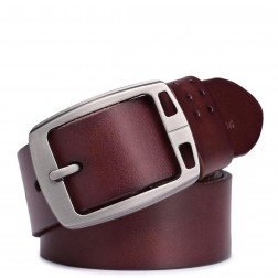 Genuine leather pin buckle men belt black